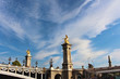 View on Alexander III bridge, blue sky with white clouds, paris city, france
