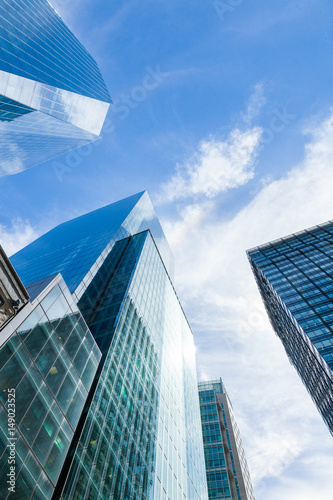 Fototapeta Modern Building Glass Architecture Clouds Wall Detail