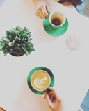 having coffee breakfast in a morning, meeting friends in cafe, woman hands holding cup, daylight