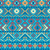 Ethnic seamless pattern with triangle and abstract geometric ornament. Tribal background texture. Vector illustration. - 149119529