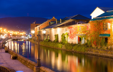 Otaru canel in Japan at night