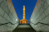 The Victory Column in Berlin at night seen from a different view