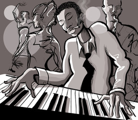 Piano jazz, singer and saxophonist © Isaxar