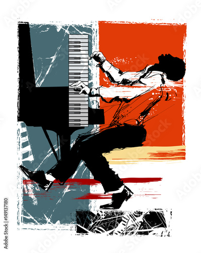 Plexiglas Art Studio Jazz pianist on a grunge background