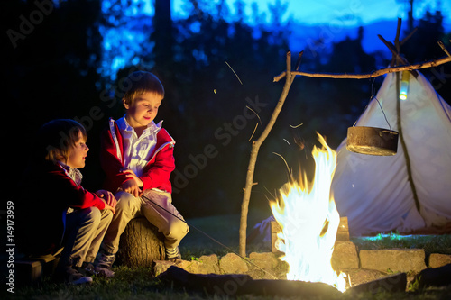 Two sweet boys, sitting around the campfire after sunset Poster