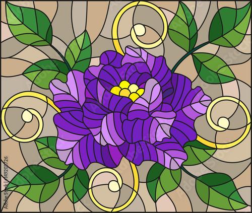 ilustracja-w-stylu-witrazu-z-streszczenie-fioletowy-kwiat-paki-i-liscie-rozy-na-brazowym-tle