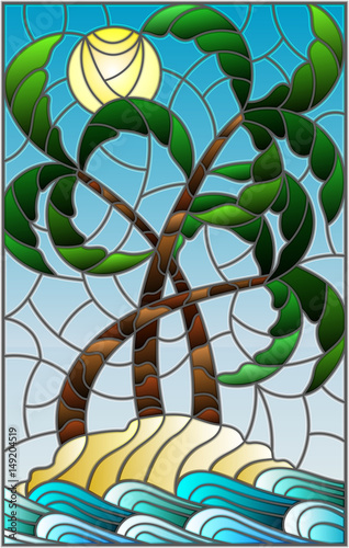 ilustracja-w-witrazu-stylu-z-tropikalnym-morze-krajobrazem-kokosowi-drzewa-na-piaskowatej-plazy-na-tle-pogodny-niebo
