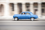 Motion blur zoom view of the Malecon seafront street in Havana, Cuba