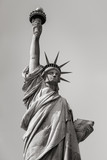 The Statue of Liberty in black and white. Liberty Island, New York City, USA