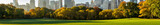 Panoramic view of Central Park South from Sheep Meadow in early morning sunlight. Midtown skyscrapers. Manhattan, New York City - 149249978