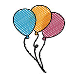 colorful balloons icon over white background. vector illustration