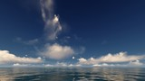 blue sky with white clouds in the ocean