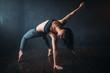 Contemp dancing female performer in dance class