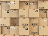 Cardboard boxes backgound. Delivery, cargo, logistic and transportation warehouse storage concept. - 149319134