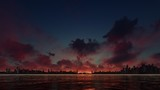DARK SUNSET BEHIND A SKYSCRAPER CITY
