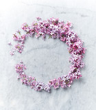 An arrangement of lilac flowers on gray marble background - 149327593