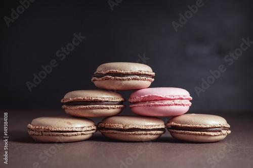 Fotobehang Macarons Pyramid of Chocolate pastel brown Macarons or Macaroons