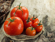 Fresh juicy tomatoes close-up on an old wooden table. - 149392524