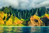 Na Pali coast, Kauai, Hawaii view from sea sunset cruise tour. Nature coastline landscape in Kauai island, Hawaii, USA. Hawaii travel. - 149398903
