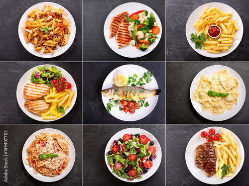 Poster set of various plates of food