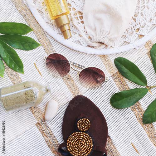 Plagát fashion blogger concept. set of Feminine accessories