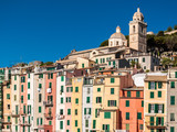 Typical colored houses in the seafront of Portovenere, small village in Liguria (northern Italy); it is called