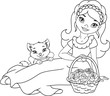 Girl with flowers and pet Coloring Page