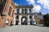 Golden Gate - magnificent two-storey high arch of triumph built in Dutch manierism style, located at the western end of the Royal Route, Gdansk, Poland