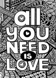 All you need is love , Inspirational quote. Hand drawn vintage illustration with hand lettering and decoration elements. Vector illustration