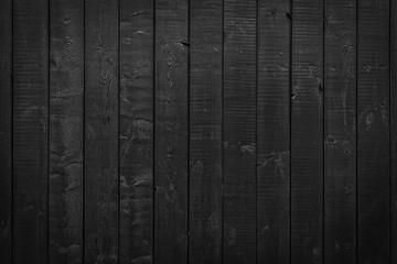 Black painted planks. Texture of wood.
