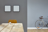 esspresso scene on wooden table in reduced vintage loft with bike