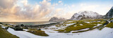 Valley with grass and snow in the Norwegian fjords