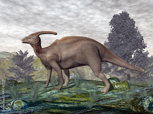 dinozaur-parasaurolophus-3d-render