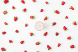 Strawberry milkshake, fresh strawberry on white background. Summer concept. Flat lay, top view