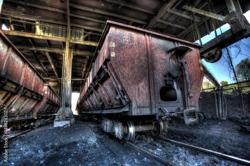 Vintage railway a train car with coal load