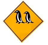 Pinguine Schild mit Textfreiraum