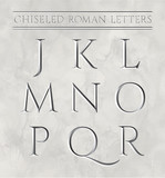 Roman letters chiseled in marble stone. Vector illustration. Letters j, k, l, m, n, o, p, q, r. - 149885167