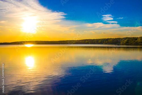 Keuken foto achterwand Oranje Landscape, sunset, lake
