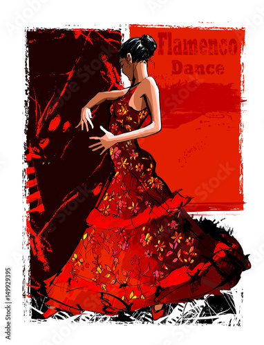 Tuinposter Art Studio Flamenco spanish dancer woman
