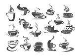 Vector icons set of coffee cups for cafeteria cafe