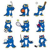 Cartoon owl play sports vector mascot icons