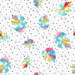 Cotton fabric Watercolor exotic leaves background.
