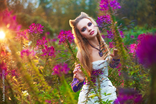 Beautiful girl model in bridal dress and cat style cos-play concept make up Poster