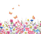 Watercolor seamless border with wildflowers - 149981994