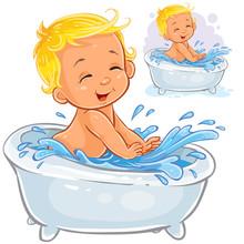 A Little Baby Splashing In The Bath   Print Template Design Element Sticker