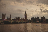 Panoramic view of Big Ben and bridge over Thames