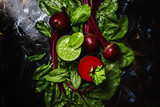 Healthy smoothies made of spinach and beets, fresh vegetables, food background, flat lay
