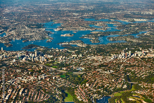 Staande foto Sydney Aerial view on Sydney, Double bay harbourside area