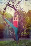 woman practice yoga  in nature