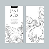 Vector wedding invitation with outline bouquet Calla lily flower or Zantedeschia in black and white. Vertical template in contour style with ornate calla and decorative lace for wedding design.